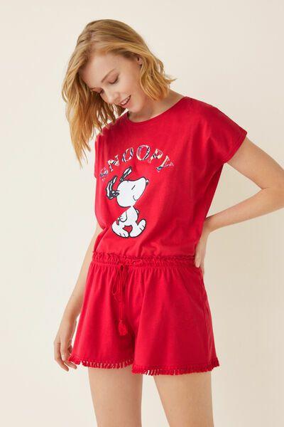 ¡7.98! Pijama manga corta de Snoopy por 3.99 + pantalón corto liso 3.99
