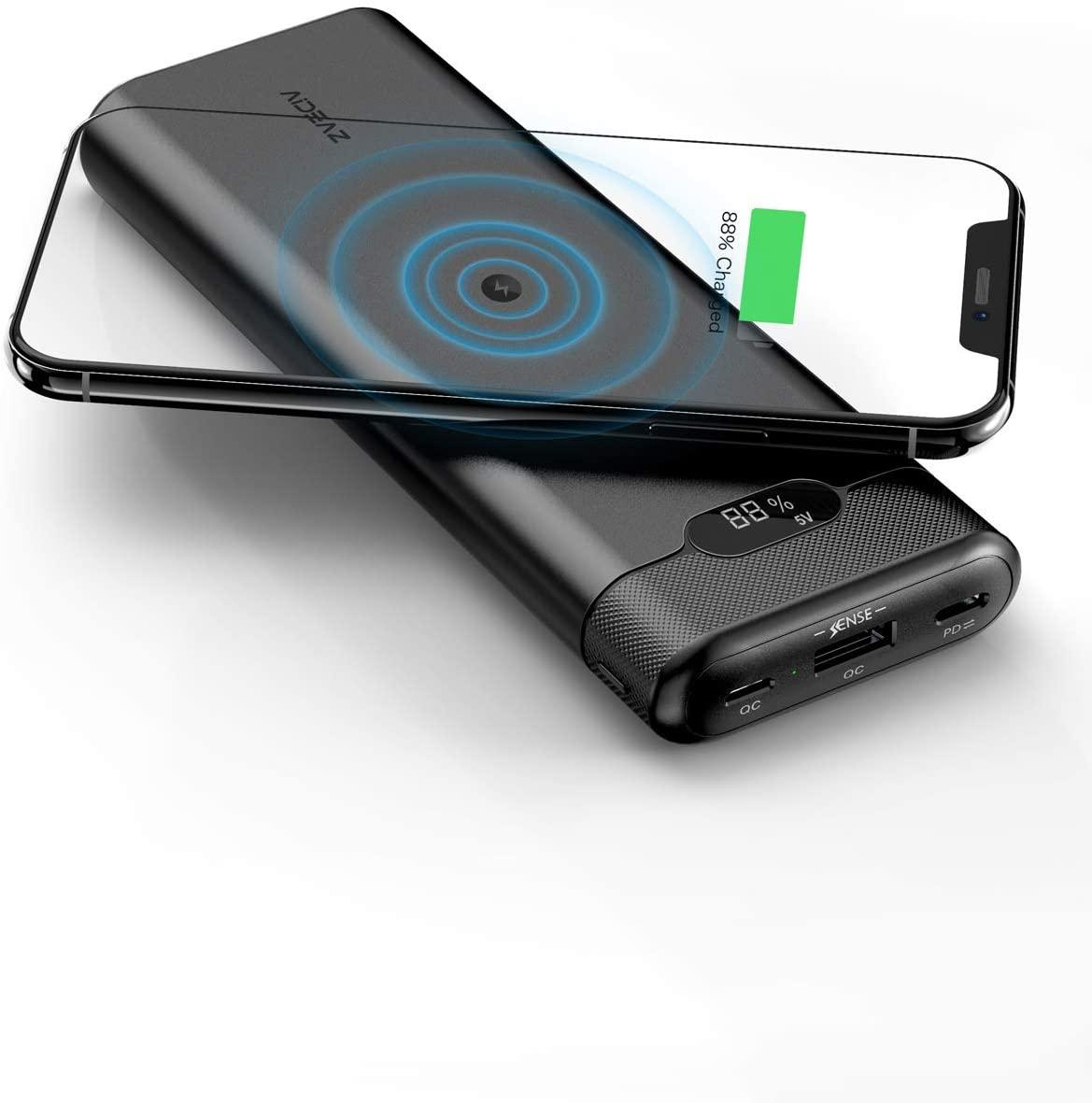 Batería Externa 20000mAh Powerbank con Cargador inalámbrico