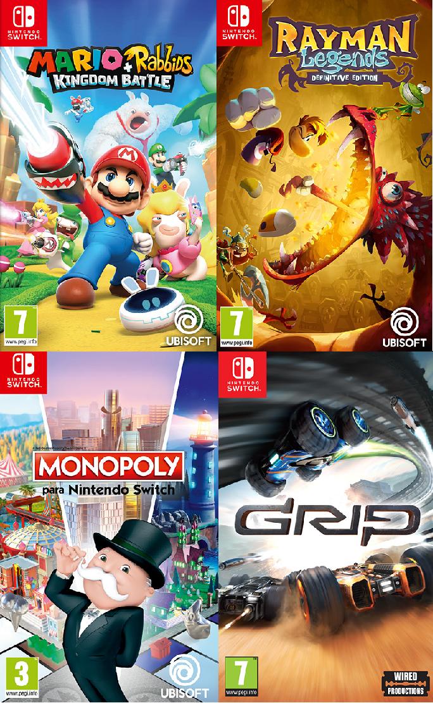 Juegos Switch varios títulos solo 9.9€ [Monopoly, Mario Rabbids, Rayman, Grip, Little nightmares, Castlevania]