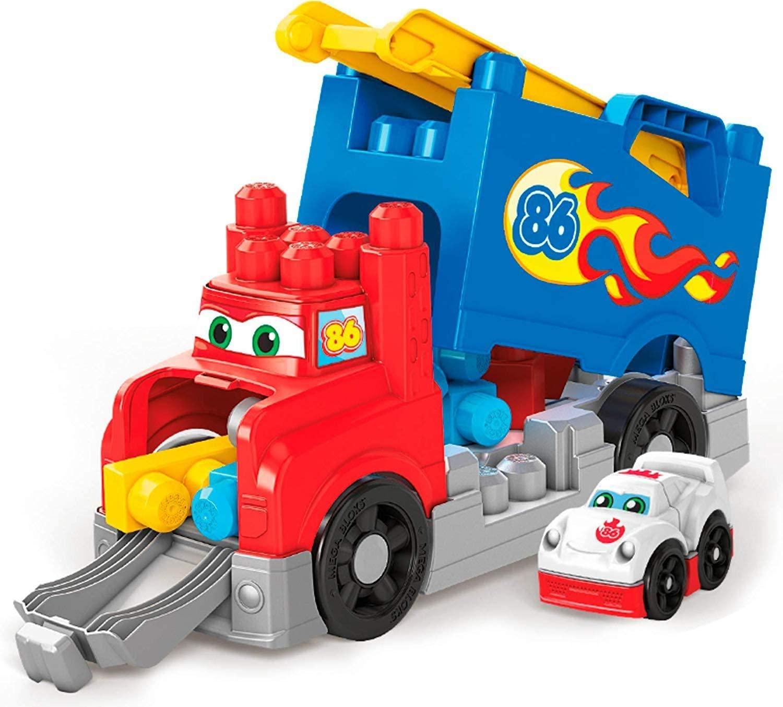 Mega Bloks Camión de carreras y construcción, juguete construcción bebé +1 año de Mattel