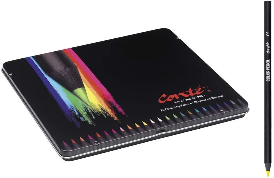 Estuche metálico 24 Lápices de colores BIC Conté