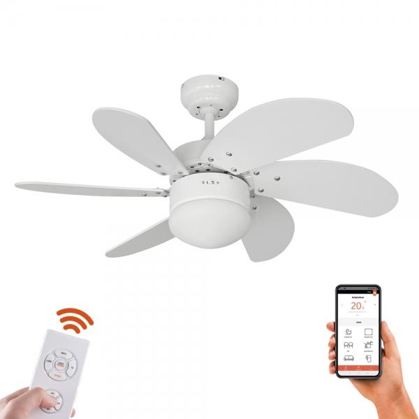 Ventilador de techo con LED compatible con Alexa/Google + mando [varios acabados]