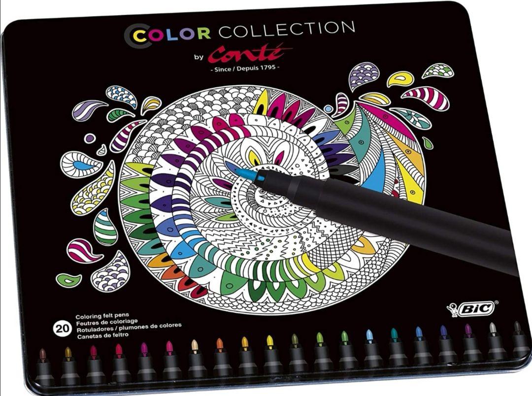 BIC Rotuladores o Lápices de colores – colores Surtidos, Edición Limitada con Estuche Metálico de 24 unidades .