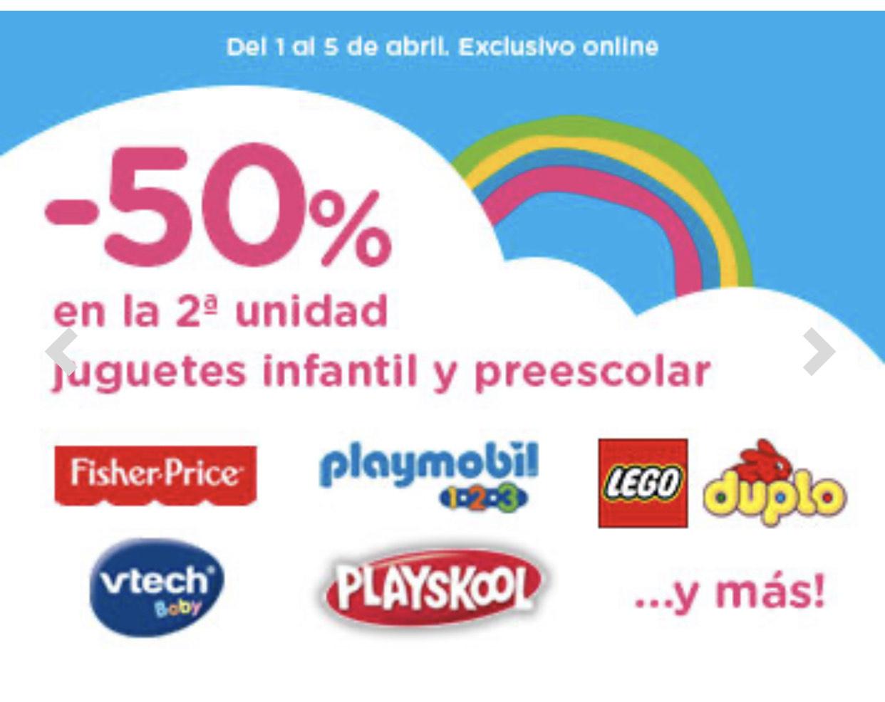 Juguetes infantiles: 2a unidad al 50%