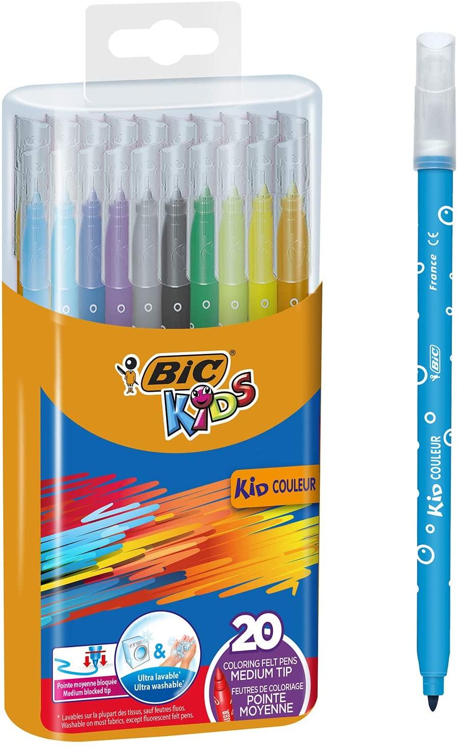 BIC Kids Kid Couleur - Pack de 20 rotuladores de colorear para aprendizaje en caja metálica