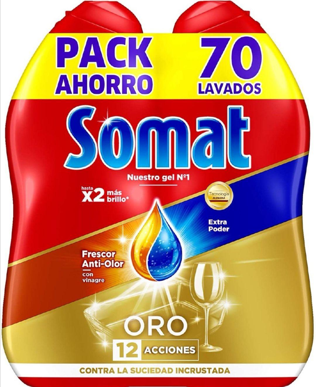 Somat Detergente Gel Lavavajillas Frescor Antiolor - 2 x 35 Lavados