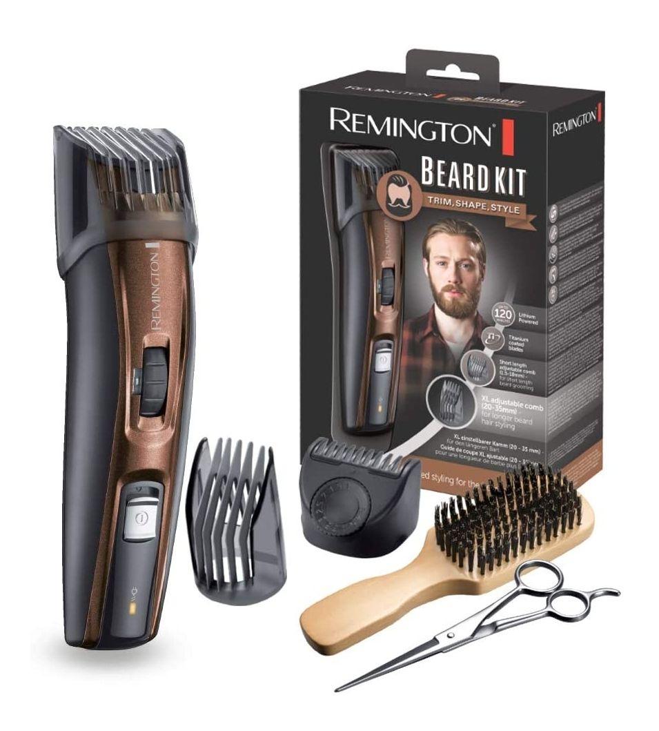 Remington MB4045 - Kit Recortador de Barba, 5 Accesorios y Barbero, Inalámbrico, Litio, Lavable, Negro y Marrón