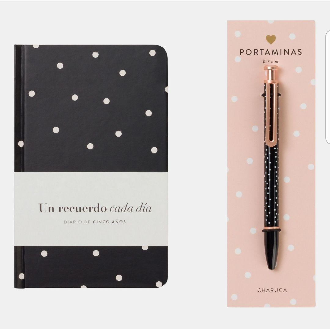 Charuca Pack Diario + Portaminas. Un recuerdo cada día. Negro. 14x21cm