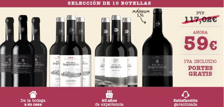 Pack de 10 botellas de vino Solar de Samaniego y Durón D.O. Rioja y D.O. Ribera del Duero sólo 59 euros.