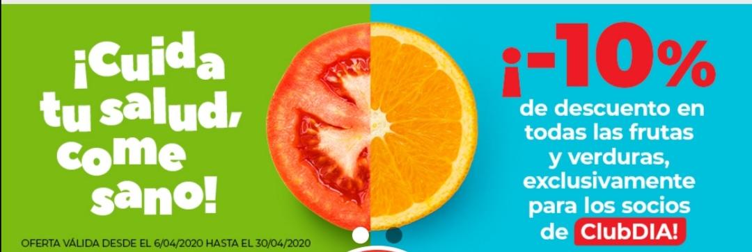 10% descuento en fruta y verduras en supermercados Dia