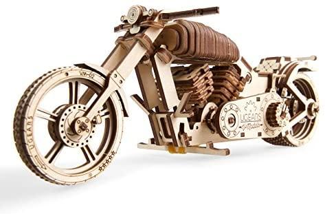 UGEARS Motocicleta VM-02 - Maqueta de Moto Mecánica - Puzzle 3D Madera -