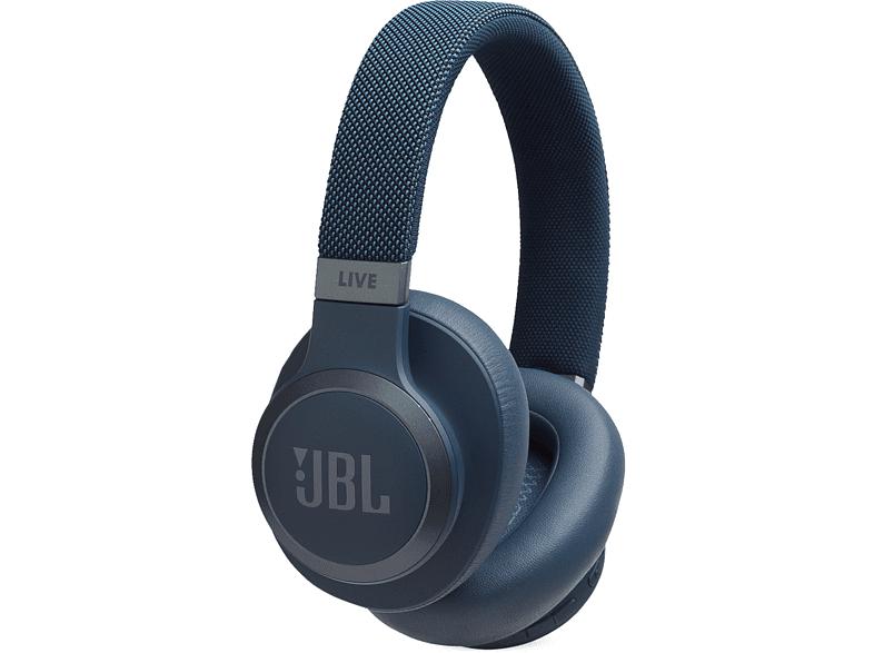 Auriculares inalámbricos - JBL LIVE 650 BT NC, Bluetooth, Cancelación ruido, Alexa/Asistente Google, Azul