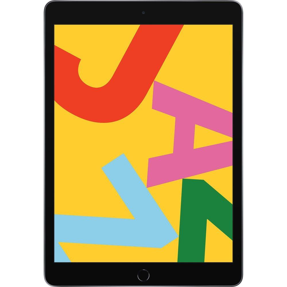 Apple iPad 10.2 (2019) 32GB Wifi - Gris Espacial con Protector de Pantalla de Vidrio Templado y Funda Negra Plegable