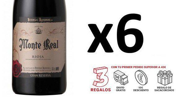 ¡¡Chollo!! 6 botellas de vino Rioja Monte Real Gran Reserva sólo 40 euros. 52% de descuento.