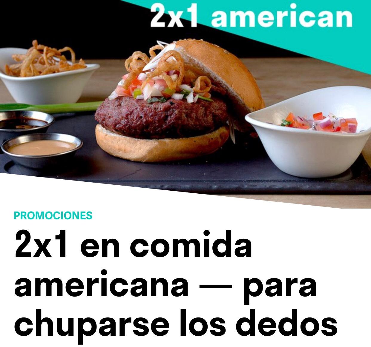 2x1 en comida americana - Deliveroo
