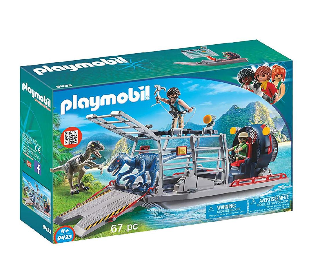 Playmobil hidrodeslizador flotante, con jaula y dinosaurios