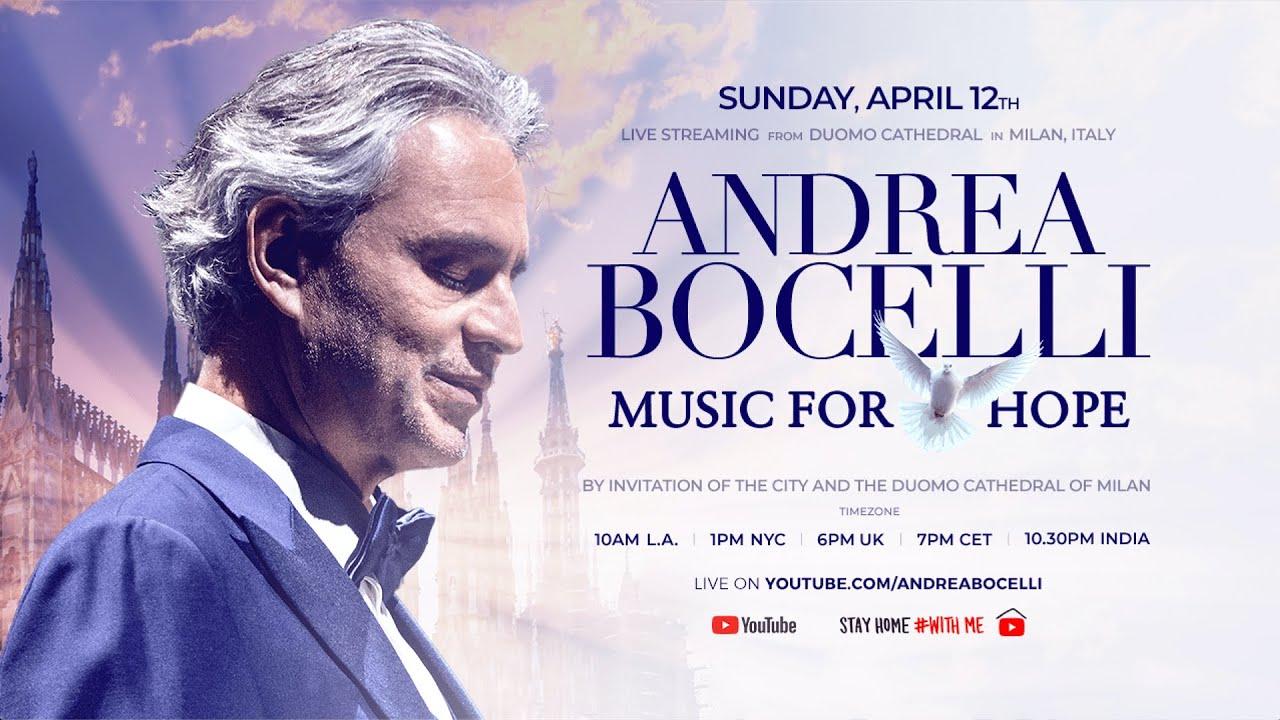Andrea Bocelli (Domingo 12 de Abril): Concierto en directo gratis desde la Catedral de Milán
