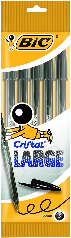 Blíster 5 unidades de BIC Cristal Large bolígrafos Punta Ancha (1,6 mm)