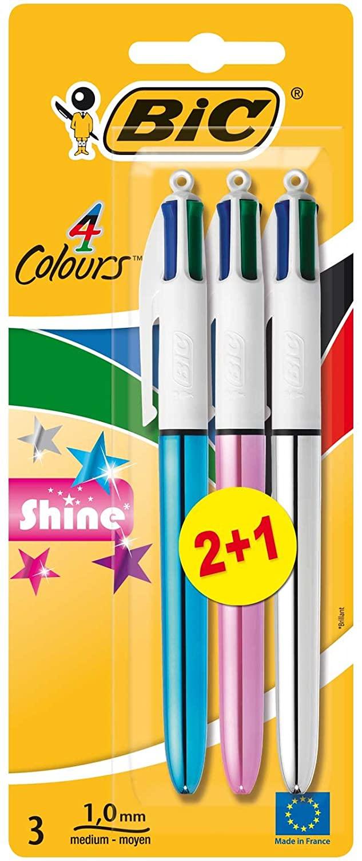 Blister de 3 Bolígrafos BIC 4 colores Shine