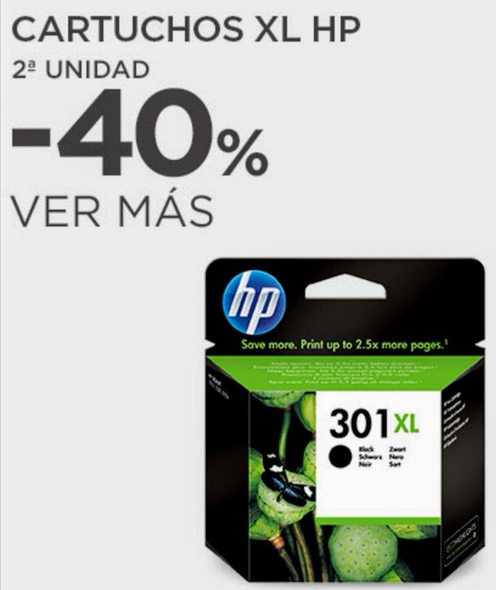 -10% dto + 40% dto. En la segunda unidad en cartuchos de tinta XL HP.