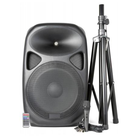 Altavoz 600 W activo con Pie y Micrófono