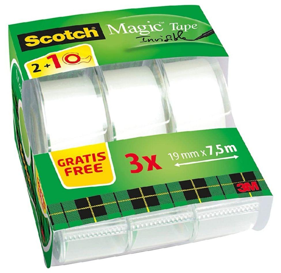 Scotch Magic - Cinta adhesiva transparente (19 mm x 7.5 m, 3 unidades), color blanco (precio al tramitar)