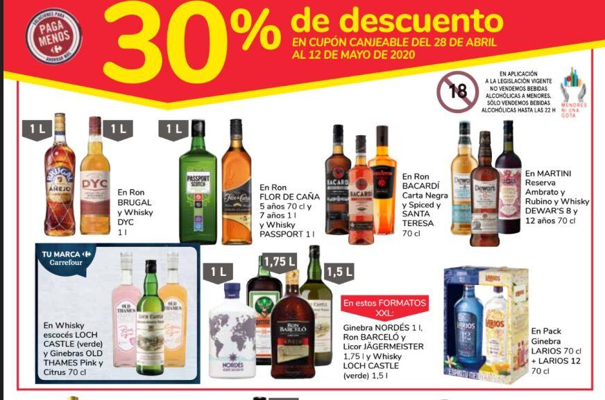 (Carrefour) 30% que vuelve en selección de alcoholes + Nuevo folleto 3x2 del 14 al 27 de abril