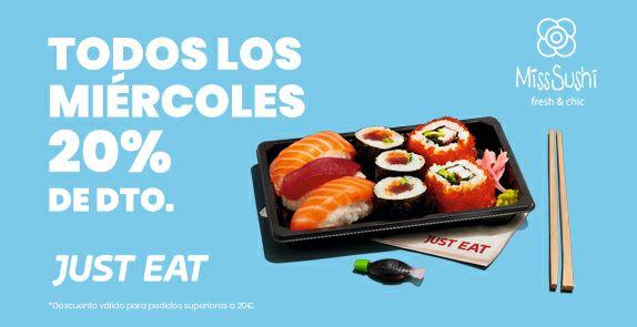 20% de descuento en Miss Sushi con Just Eat