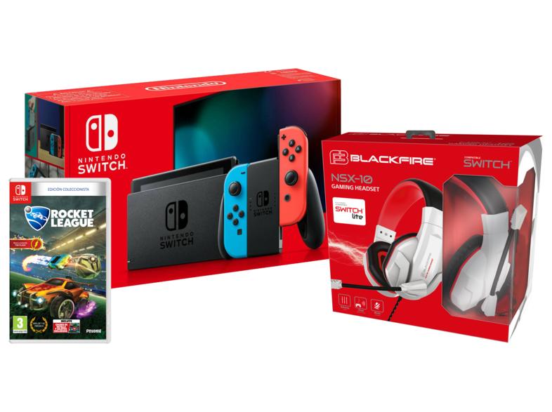 Pack Nintendo Switch V2 Color Azul y Rojo + Rocket League Edición Coleccionista + BLACKFIRE GAMING HEADSET NSX-10 (MediaMarkt Canarias)