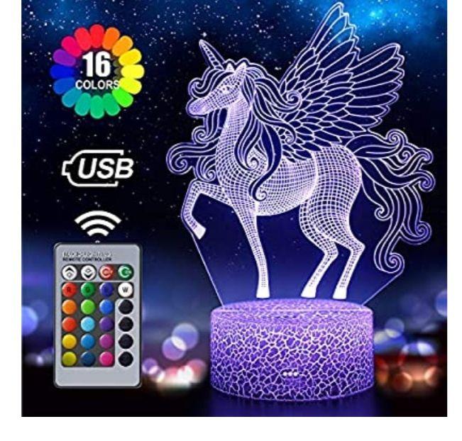 Luz nocturna 3D para niños con diseño de unicornio