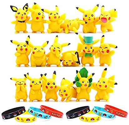 18 Piezas Pokemon Pikachu Monster Mini Figuras, precio mínimo según Keepa + 8 Piezas Pulsera de Silicona,