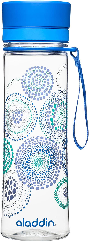 Aladdin Botella de agua «Aveo», plástico, Blue Print, 0,6 Litros
