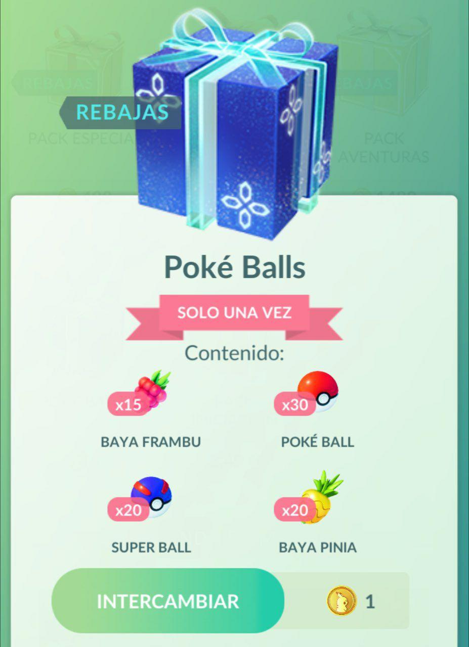 Pokémon Go 15 bayas frambu, 30 pokeballs 20 superballs por 1 pokemoneda + 20 bayas piñas doradas