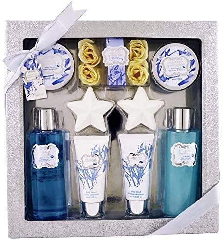 Gloss-Set de Baño Flor de Algodón. Plata 8 piezas.