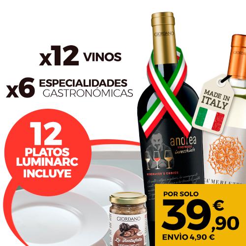GIORDANO 12 Vinos exclusivos + 6 Especialidades gastronómicas +12 Platos Luminarc