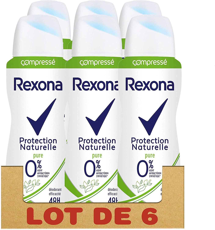 REXONA 0% desodorante comprimido para mujer en spray protección natural pura 48H Set de 6 x 100 ml