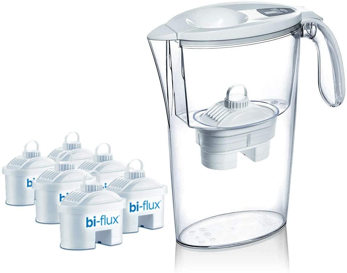 Pack de 6 filtros Laica bi-flux + 1 jarra de regalo. El filtro bi-flux reduce la cal y el cloro
