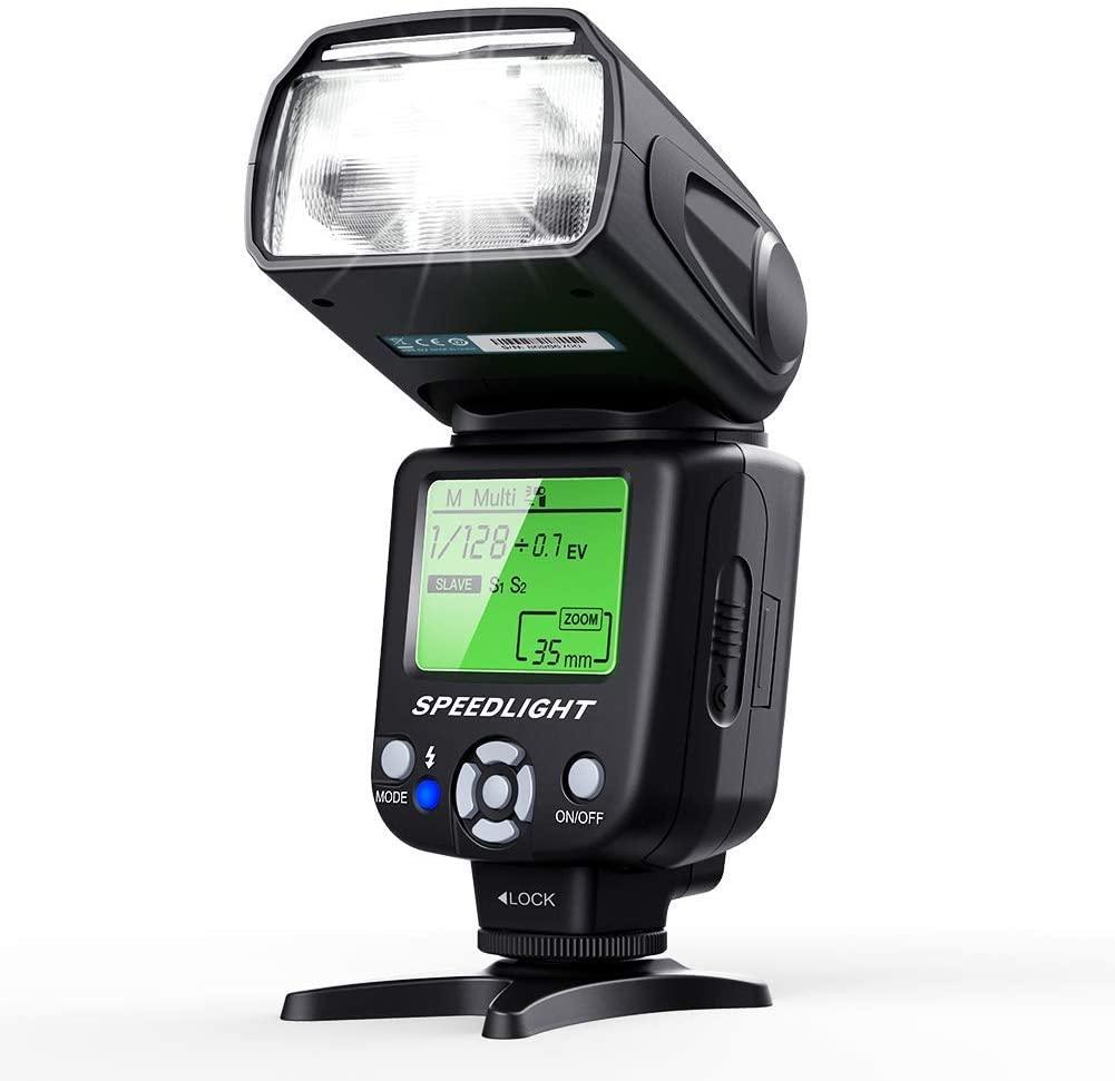 Flash cámara ESDDI con pantalla LCD | Canon Nikon Panasonic Olympus Pentax