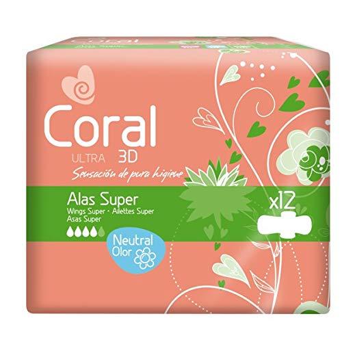 Compresas Coral Ultra 3D Super Alas. Paquete con 12 unidades.