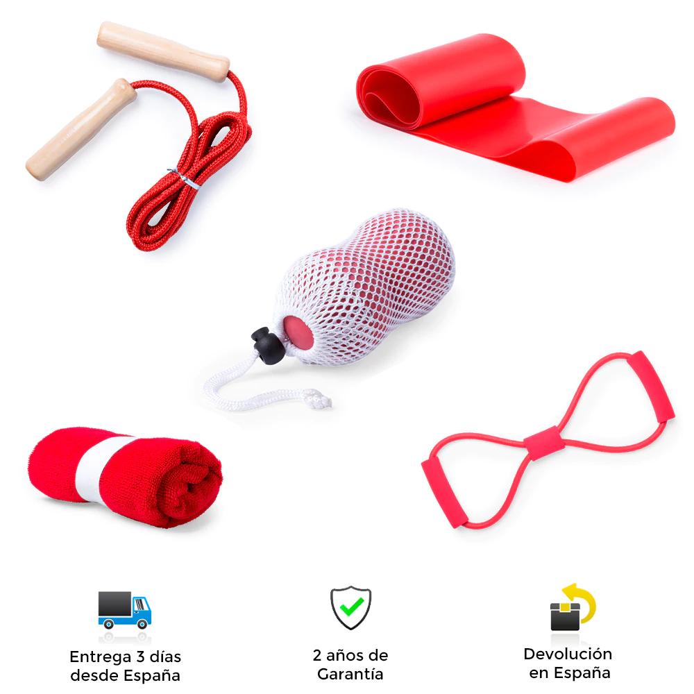 Kit Ejercicio Fitness Home | Bolas de Yoga Relajantes + 2 Gomas Elásticas + Toalla Absorvente + Comba