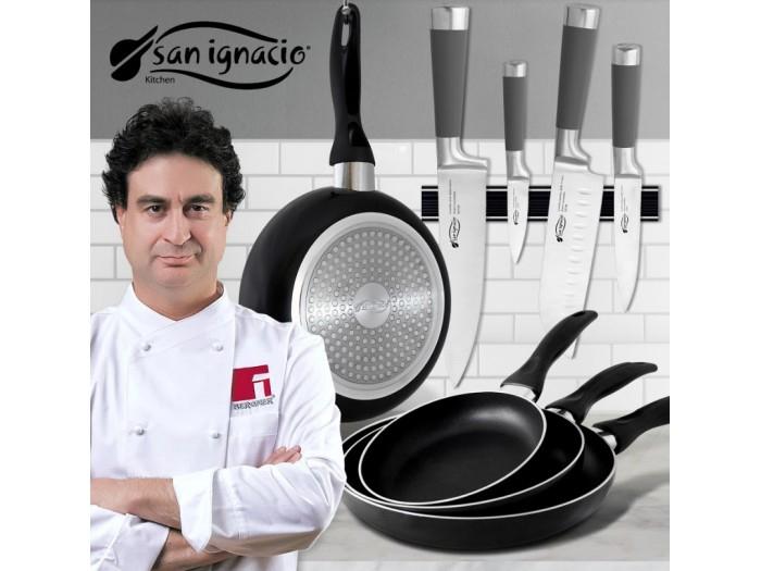 Set de 3 sartenes y 4 cuchillos profesionales San Ignacio Masterpro