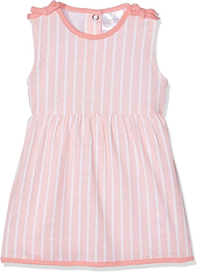 Twins Nina - Vestido Bebé-Niñas, 98 cm, multicolor blanco rosa.