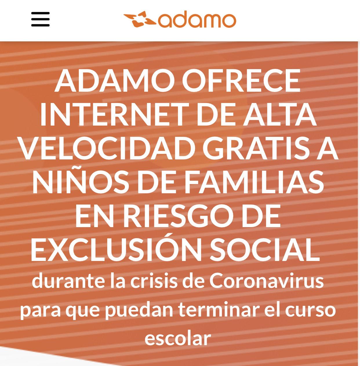 Ádamo ofrece fibra gratis a familias en riesgo de exclusión social.
