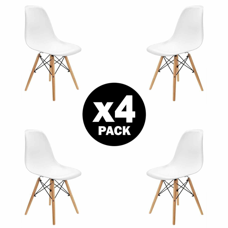 Pack 4 Sillas de Comedor Blancas Diseño Nórdico