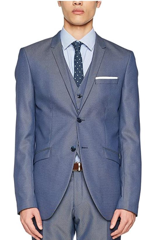 TALLA 44 - SELECTED HOMME Shdone-Maze M. Blue Struct. Blazer STS Chaqueta de Traje para Hombre