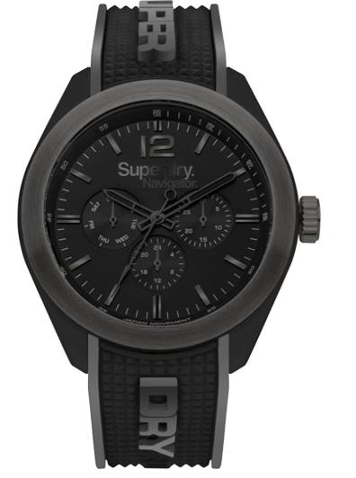 Superdry Reloj Analógico para Hombre de Cuarzo con Correa en Silicona SYG215EB