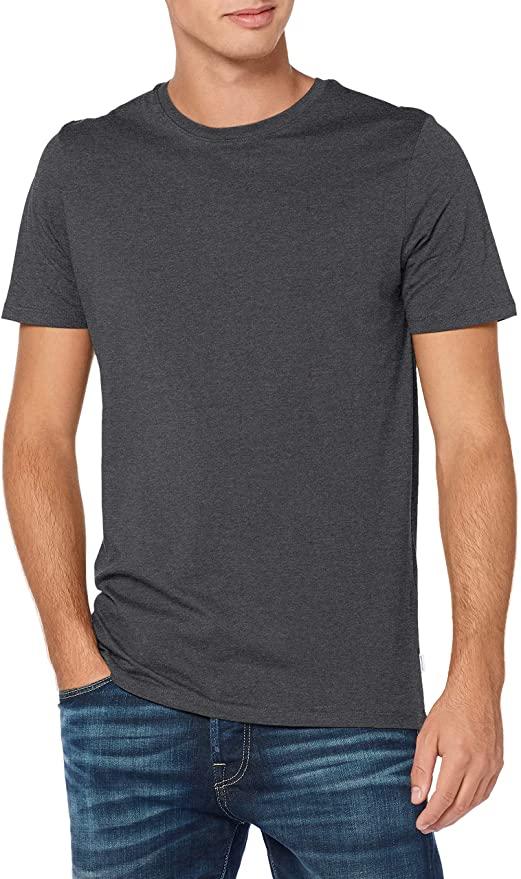 Camiseta básica de algodón orgánico Jack & Jones, Caballero, Talla S, Gris oscuro