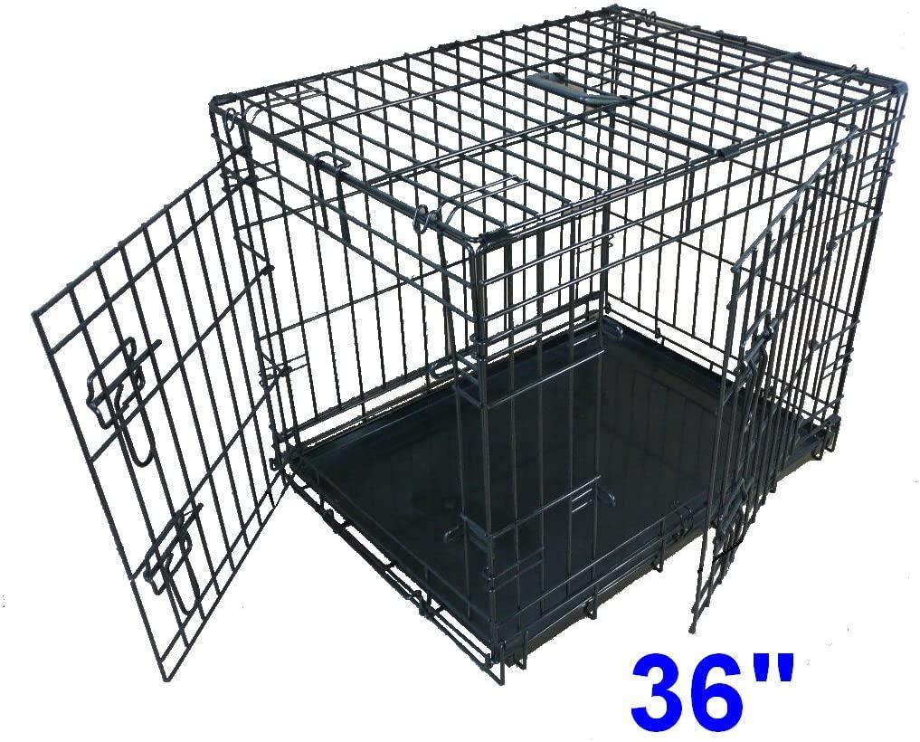 REACO - CN - Jaula Plegable 2 Puerta con Orificio Bandeja de Metal Grande (91,4 cm) para Perro