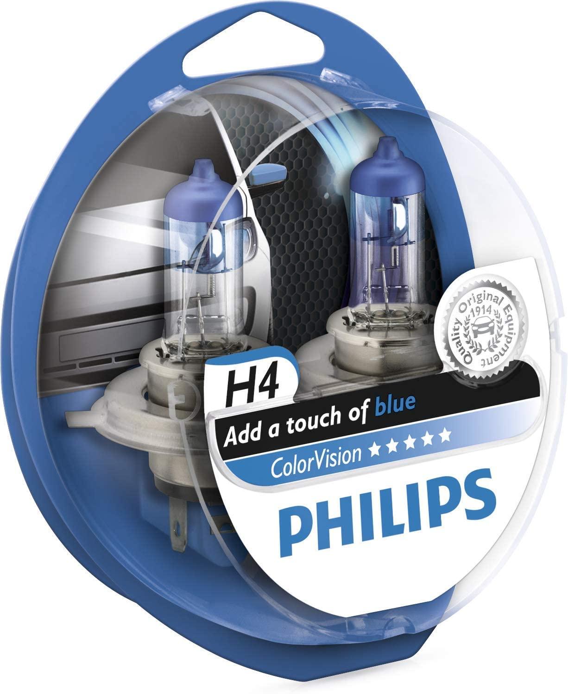 Estuche 2 lámparas Philips H4 ColorVision Blue para faros delanteros