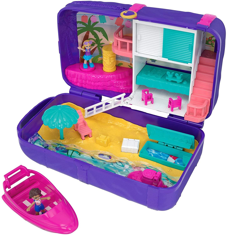 Juguete Polly Pocket Mochila Vacaciones en la playa, muñecas con accesorios